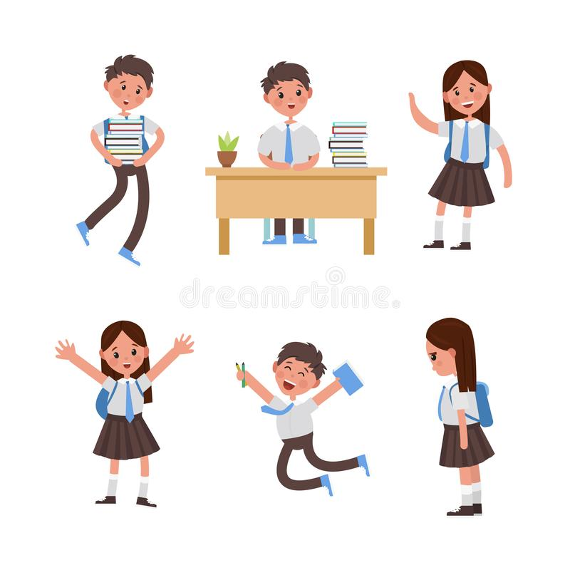 Cute children go to school, student with a bag. Cute children go to school. A student returns to school. Set of cute school kids. big set of girls and boys with stock illustration