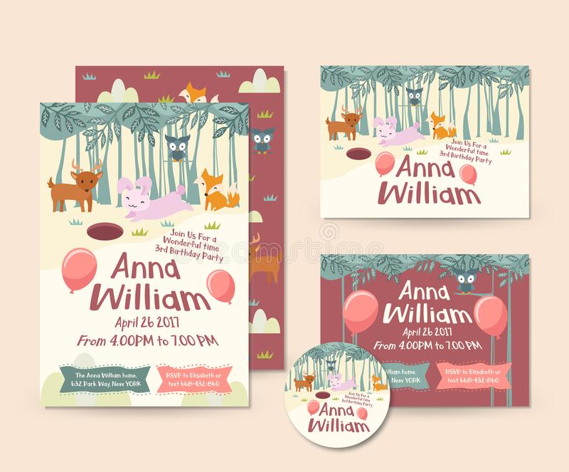 Cute Forest Animal Theme Happy Birthday Invitation Card Set And Flyer Illustration Template. Cute Children Happy Birthday Invitation Card Set And Flyer stock illustration