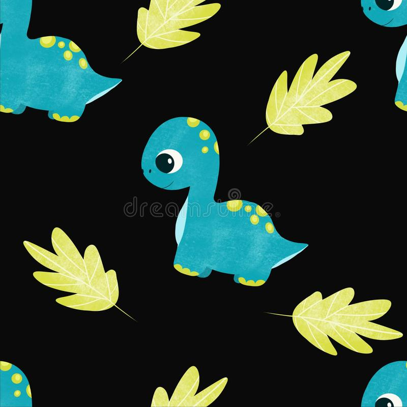 Cute children pattern with dinosaurs stock illustration