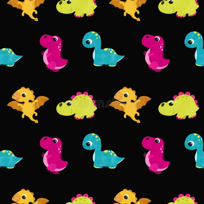 Cute children pattern with dinosaurs royalty free illustration
