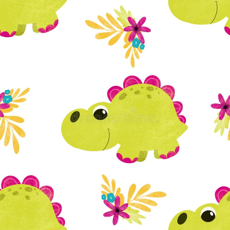 Cute children pattern with dinosaurs vector illustration