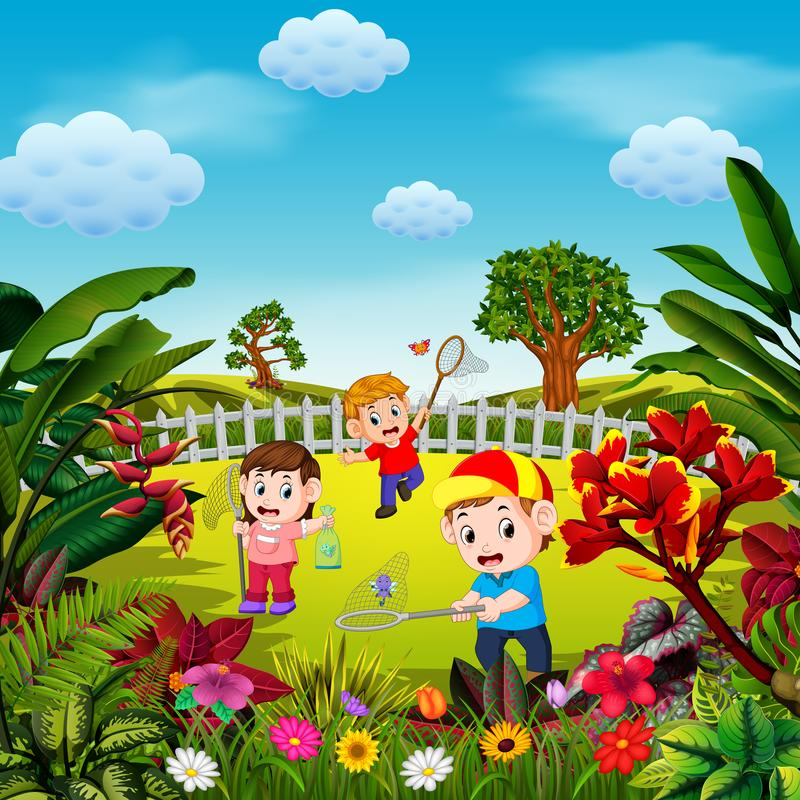 The cute children play to catch the butterfly in the yard. Illustration of the cute children play to catch the butterfly in the yard royalty free illustration