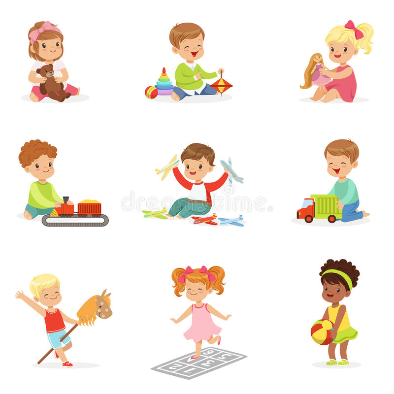 Cute Children Playing With Different Toys And Games Having Fun On Their Own Enjoying Childhood. Young Kids And Infants Game Time Vector Illustrations Set With stock illustration