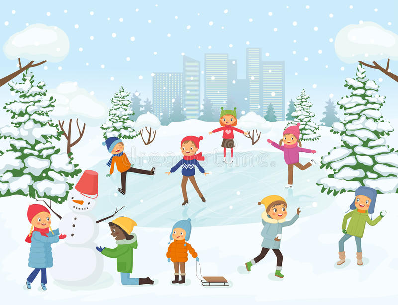 Cute Children Playing Outside Stock Vector Illustration