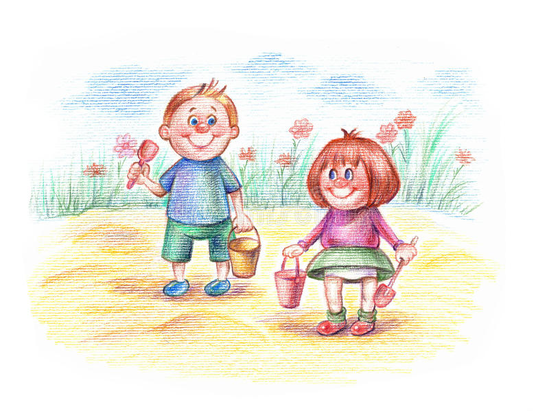 Download Cute Children Playing In The Yard Stock Illustration - Illustration: 12541488