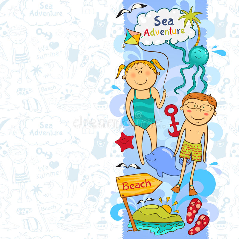 Cute children's border with beach elements. In doodle style stock illustration