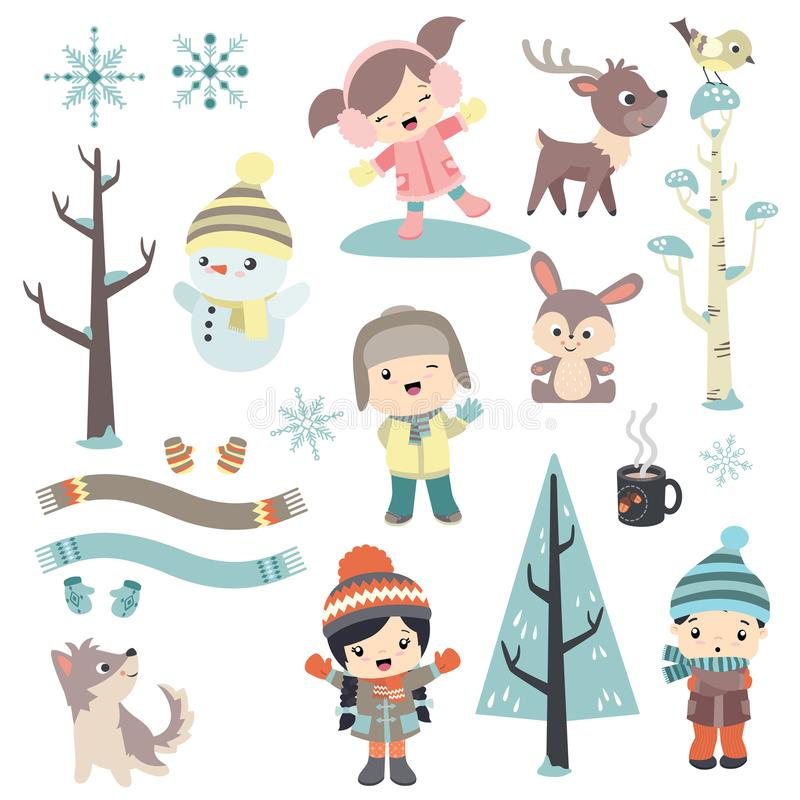 Cute children in winter time royalty free illustration