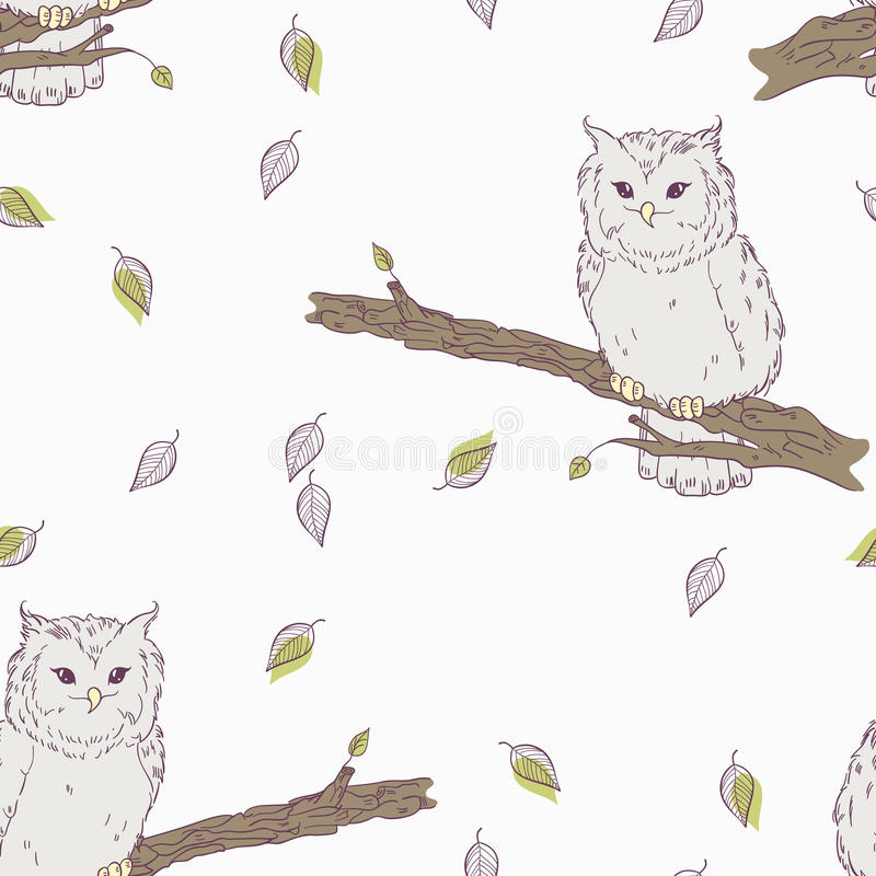 Cute childrens floral seamless pattern with owl bird stock illustration