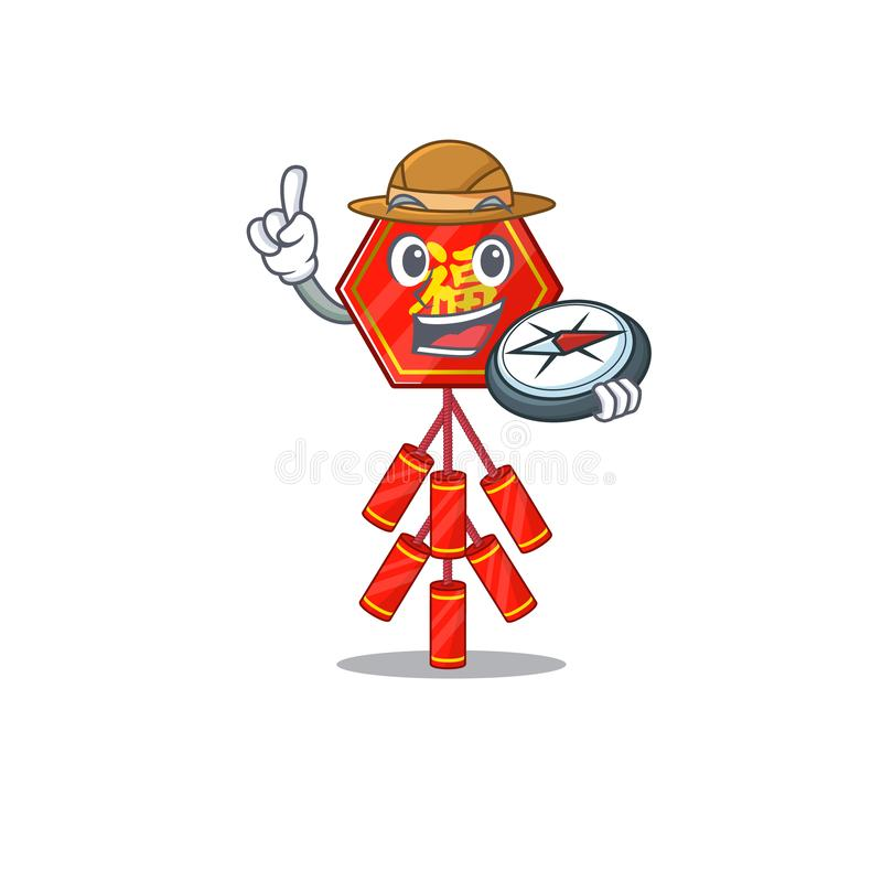 Cute chinese firecracker holding compass character the smiley royalty free illustration