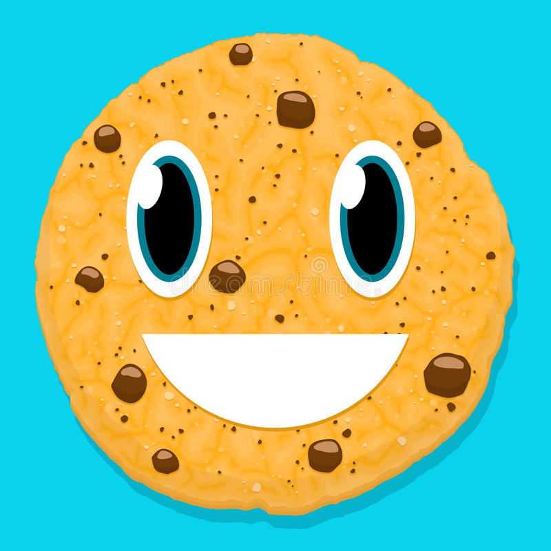 Cute chocolate cookie character with smiley face. On blue vector illustration