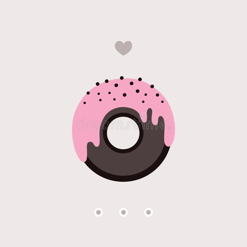 Cute chocolate donut with pink glaze on top Delicious sweet dessert vector illustration