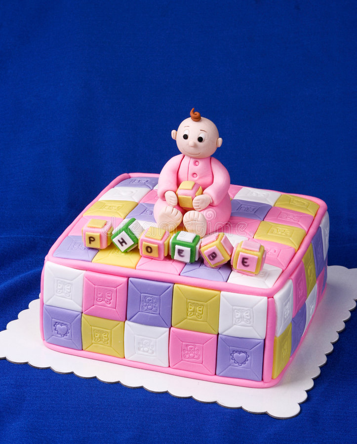 Cute Christening/baby Shower Cake For A Baby Girl Royalty Free Stock Images
