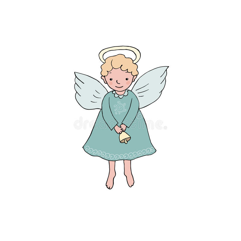 Cute Christmas angel with bell in cartoon style stock illustration