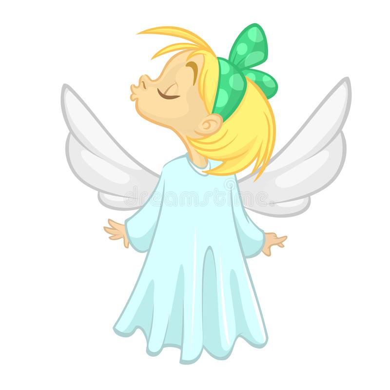 Cute Christmas angel girl send a kiss character. Vector illustration isolated. stock illustration
