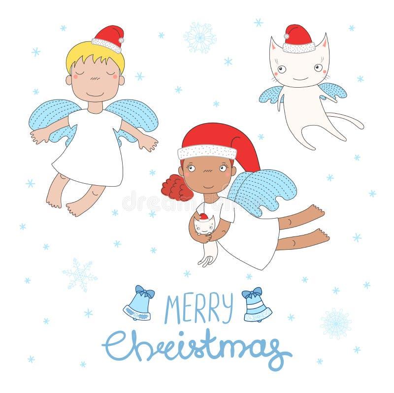 Cute Christmas angels vector illustration