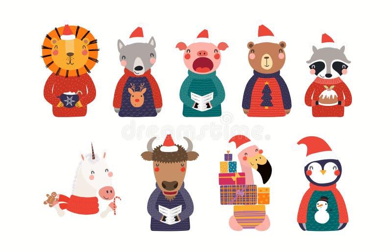 Cute Christmas animals set royalty free illustration