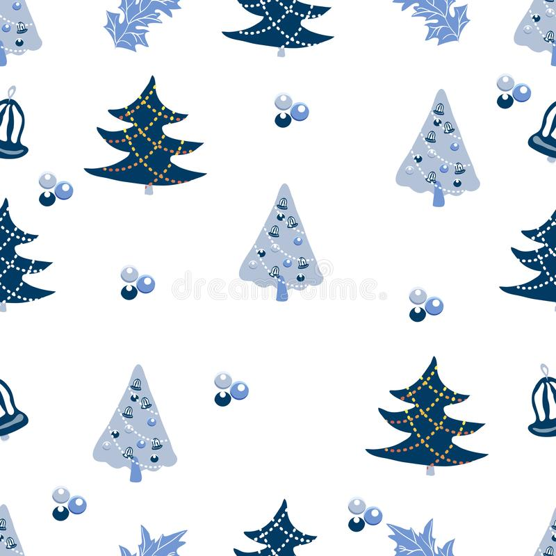 Cute Christmas background with fur trees, hollies, christmas balls. Seamless vector pattern in stylish pastel blue winter colors.  stock illustration