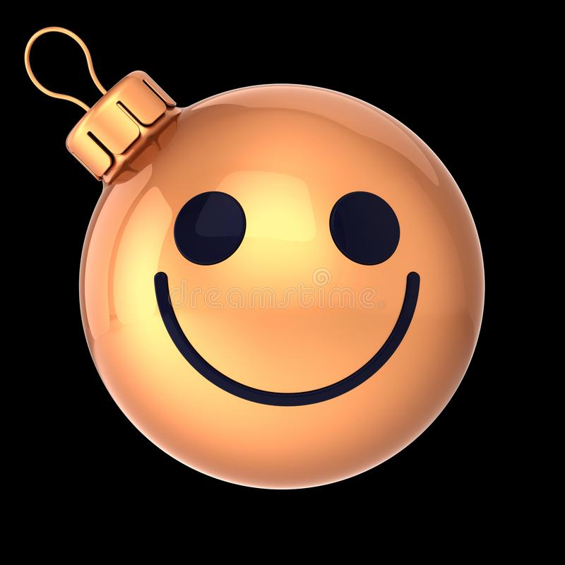 Cute Christmas ball smiling face yellow golden isolated on black stock illustration