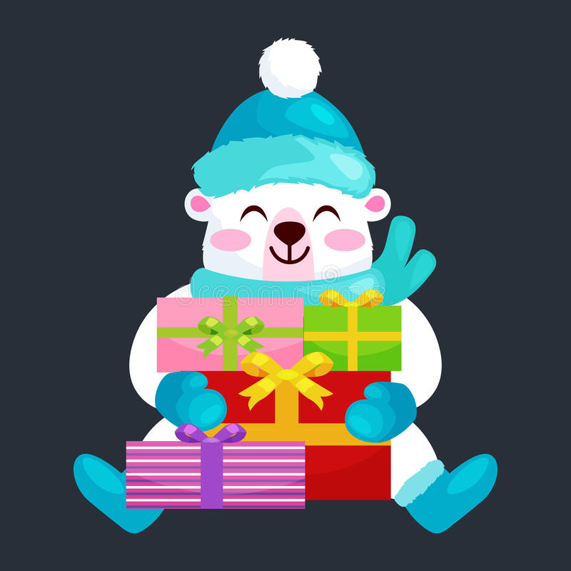 Cute Christmas bears during the winter holidays and the New Year s Eve sitting rejoice gifts. Teddy in clothes warm royalty free illustration