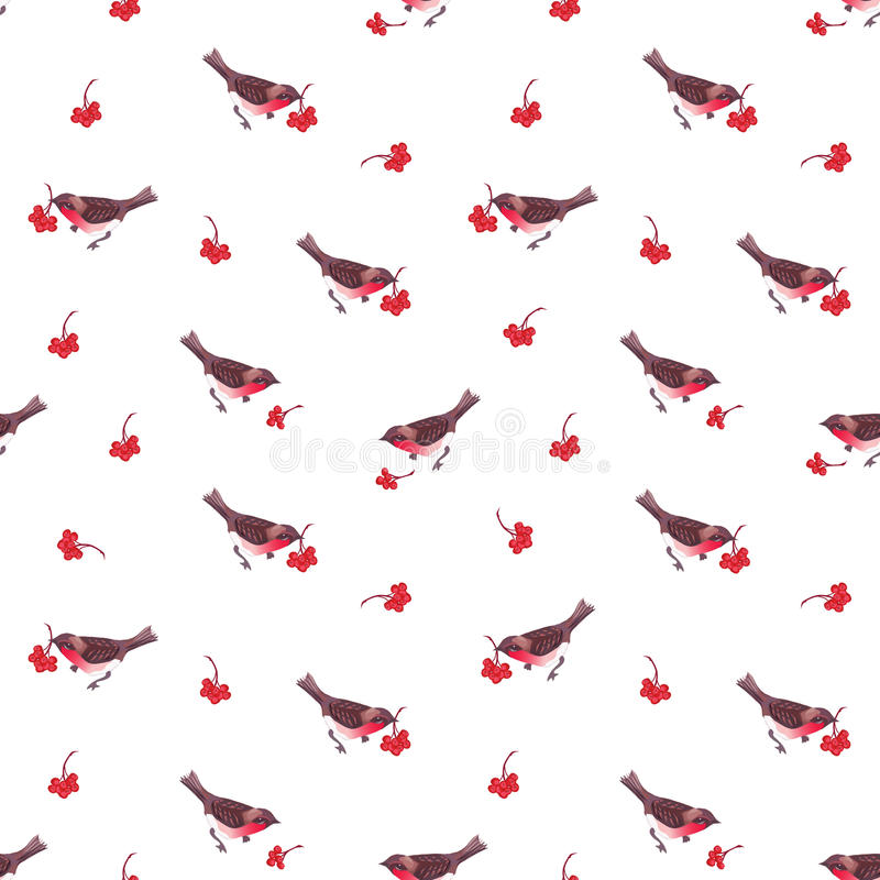 Free Cute Christmas Bullfinches And Ashberry Seamless Vector Pattern Royalty Free Stock Photography - 61858007