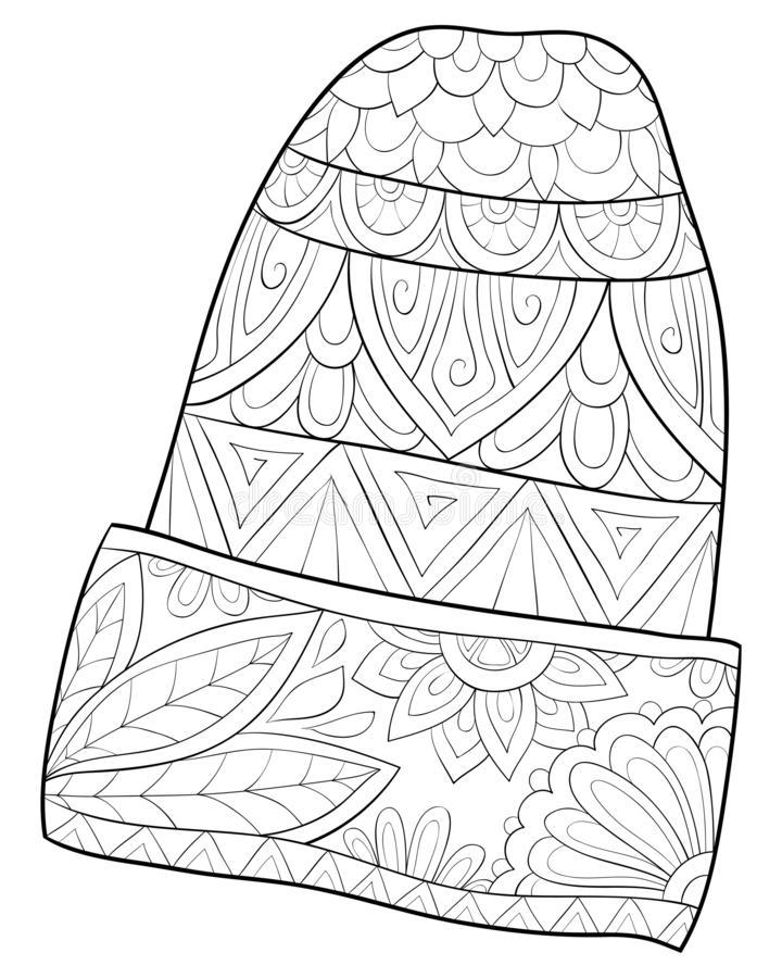 Adult coloring book,page a cute Christmas cap image for relaxing activity.Zen art style illustration for print. A cute Christmas cap image with zen ornaments royalty free illustration