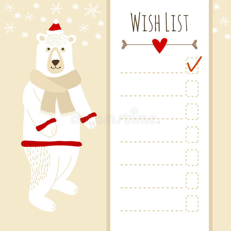 Download Cute Christmas Card,baby Shower Wish List With Polar Bear Stock  Vector   Illustration