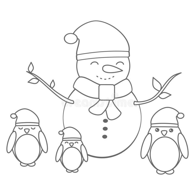 Cute christmas vector card with cartoon penguins and snowman funny illustration for coloring art vector illustration