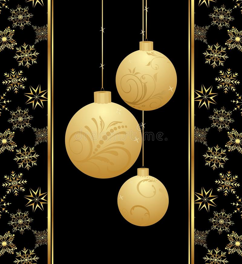 Download Cute Christmas Card With Gold Balls Stock Vector - Illustration of design, star: 20528886