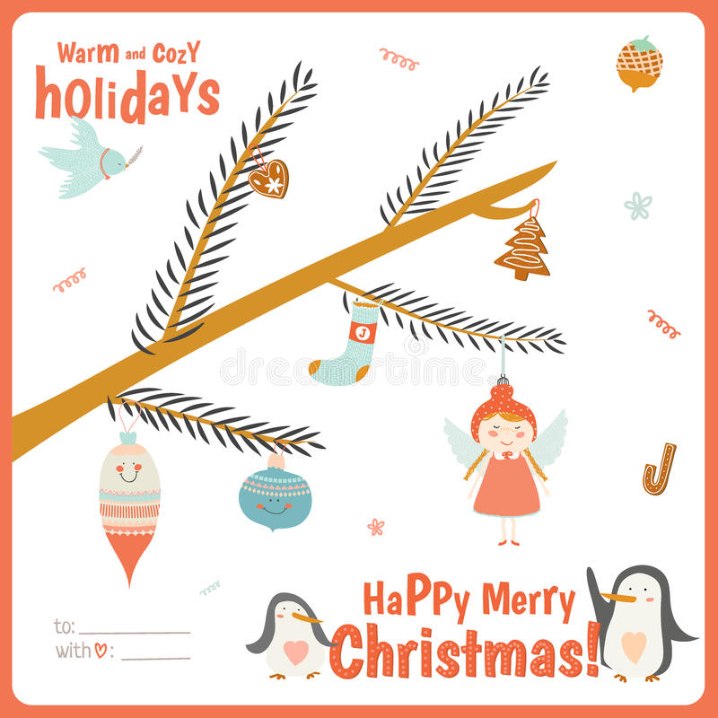 Cute Christmas card with tree branch royalty free illustration