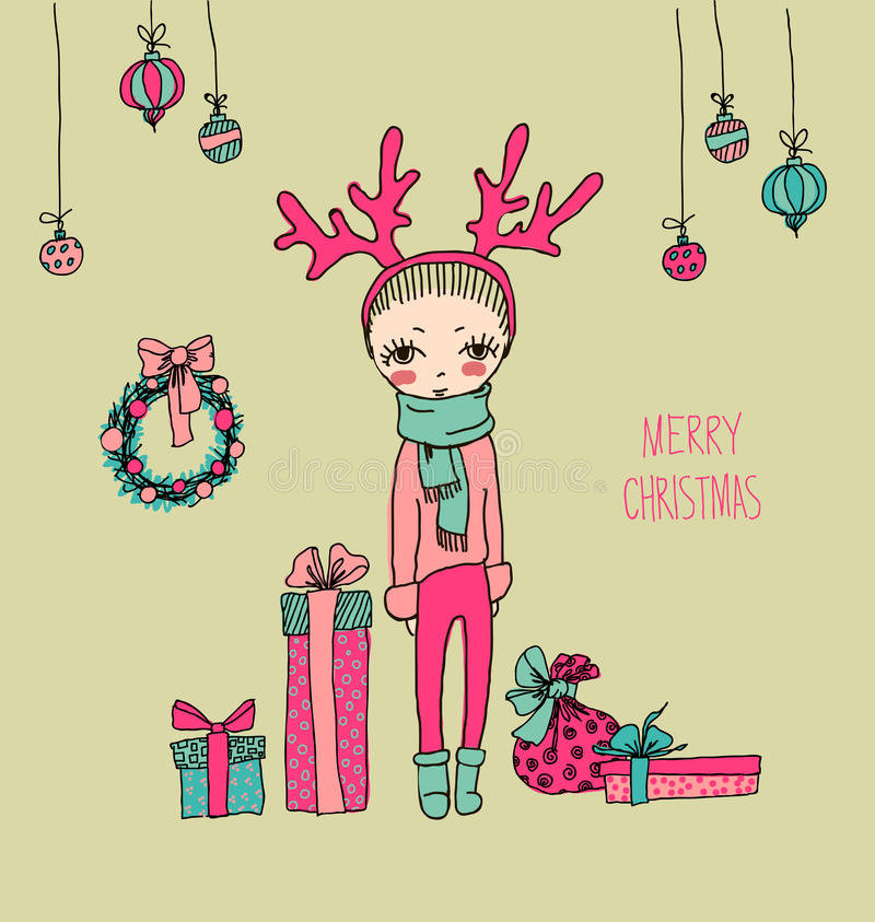 Cute christmas card in vector stock vector illustration of download cute christmas card in vector stock vector illustration of background girl m4hsunfo