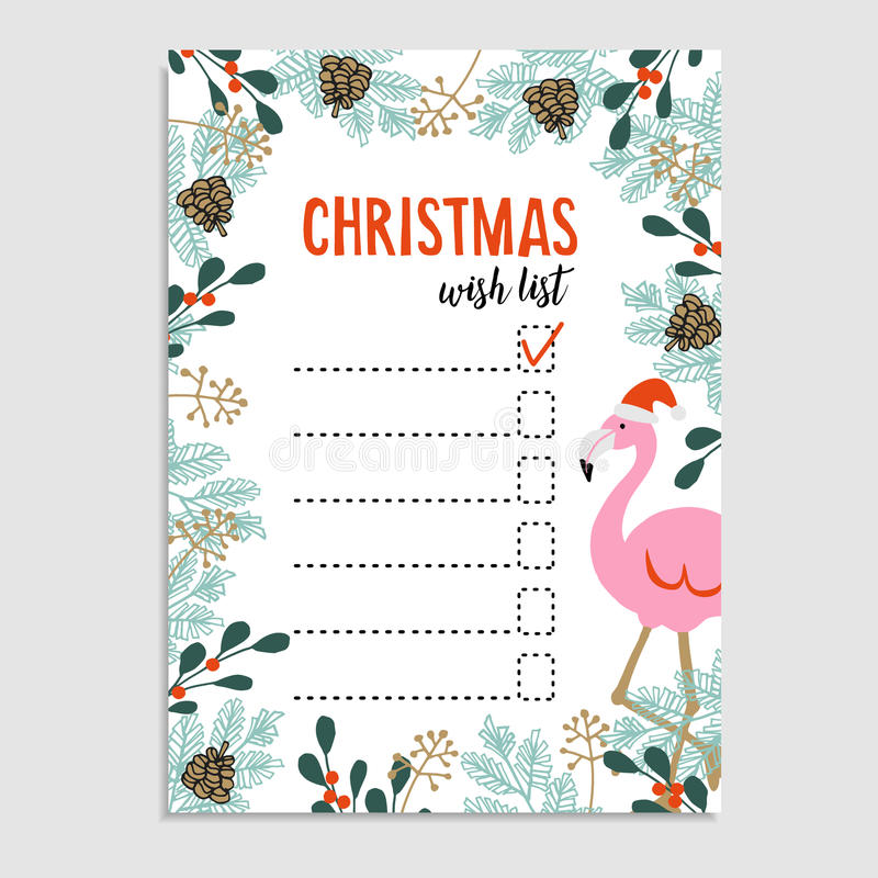 Cute Christmas card, wish list. Flamingo with Santa hat and floral frame made of Christmas tree branches and red berries. vector illustration
