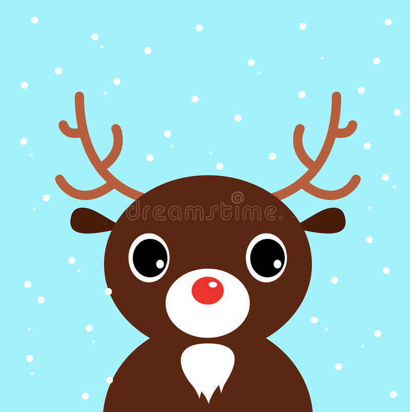 Download Cute Christmas Cartoon Deer On Blue Background Stock Illustration