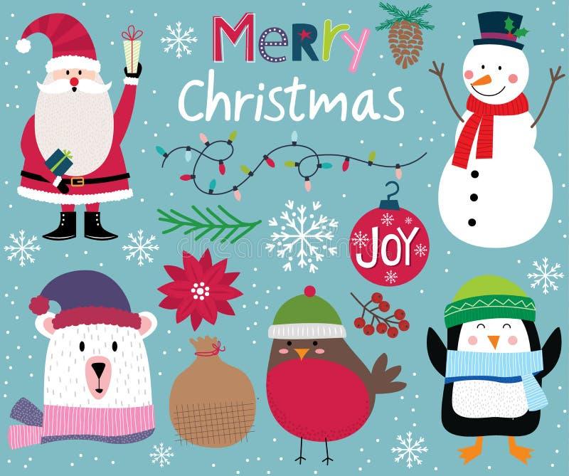 Cute Christmas character, Santa Clause, snowman, penguin, polar bear, robin and christmas ornament decoration royalty free stock image