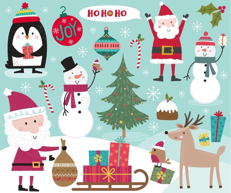 Cute Christmas character, Santa Clause, snowman, penguin, robin and Christmas ornament decoration. Vector illustration stock illustration