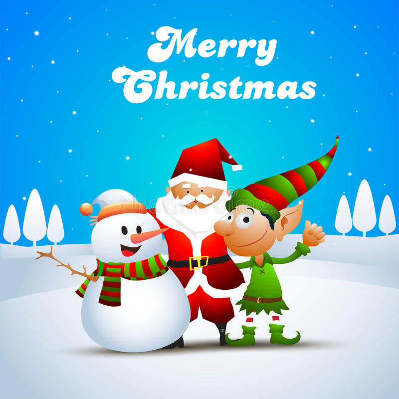 Cute Christmas characters. Cute Happy Christmas Characters as Snowman, Santa Claus and Funny Elf on winter background stock illustration