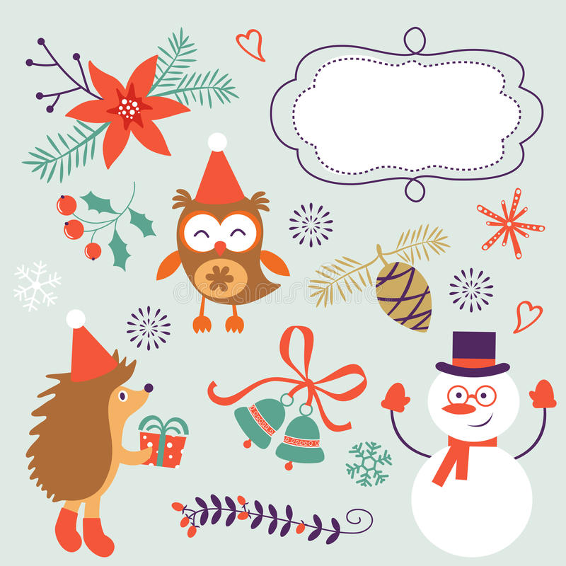 Cute Christmas decorative elements and icons vector illustration