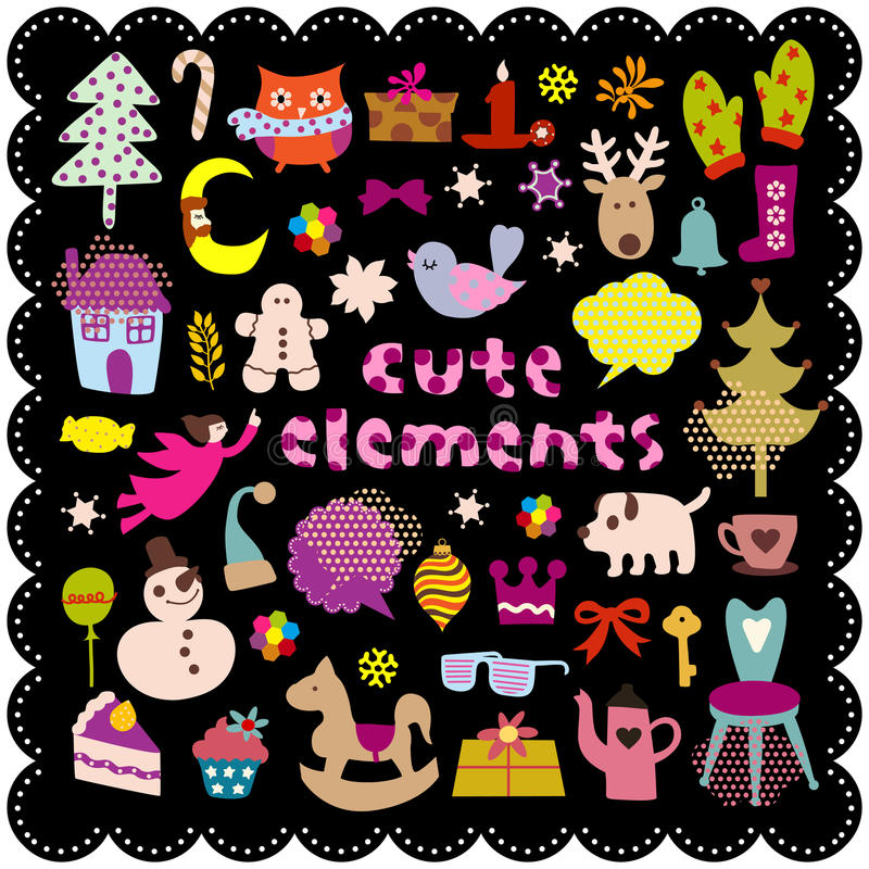 Cute christmas elements stock illustration