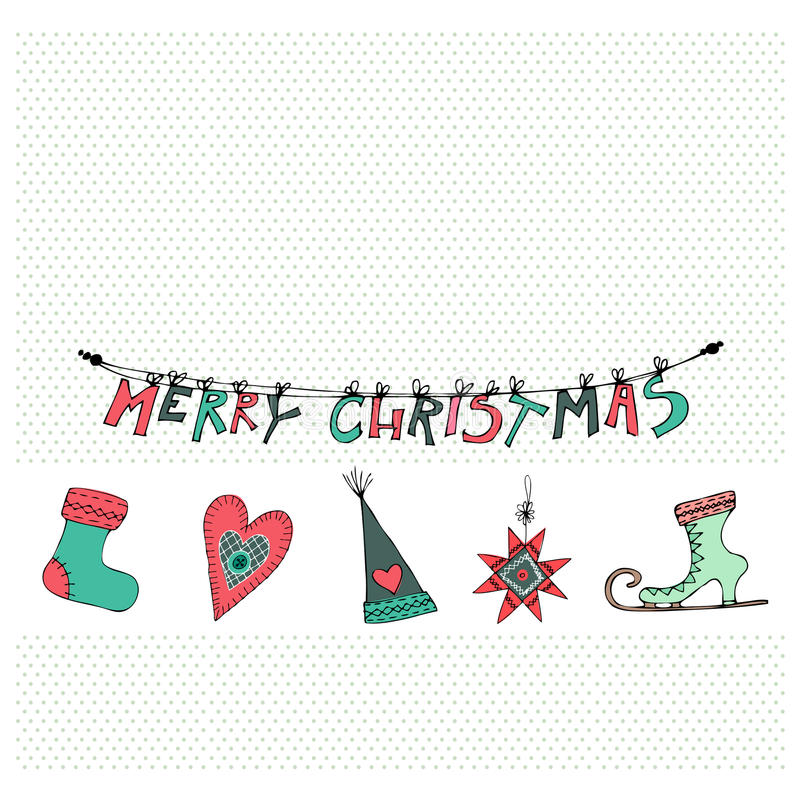 Cute Christmas elements. Vector illustrated Christmas cards design with cute Christmas elements stock illustration
