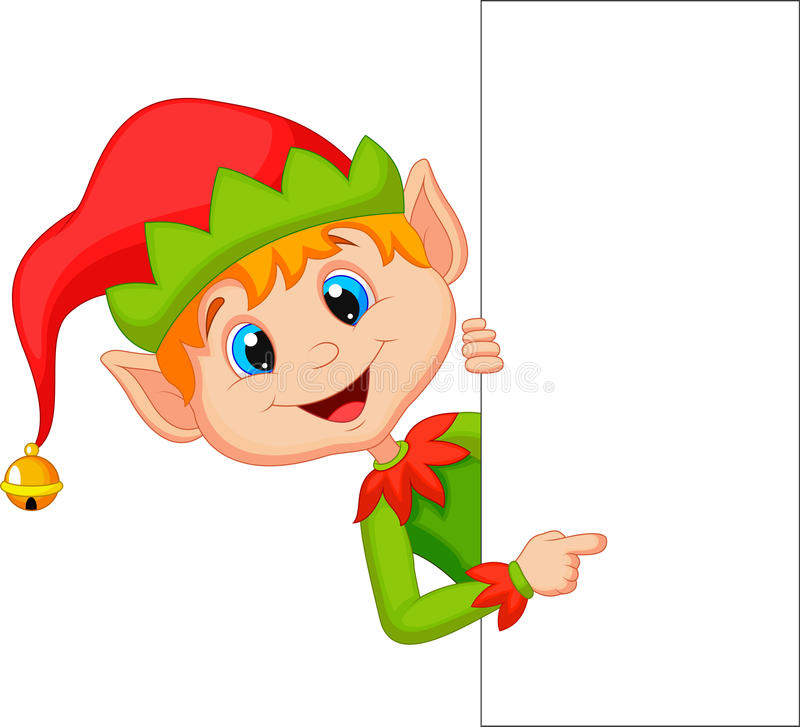 Cute christmas elf cartoon pointing vector illustration