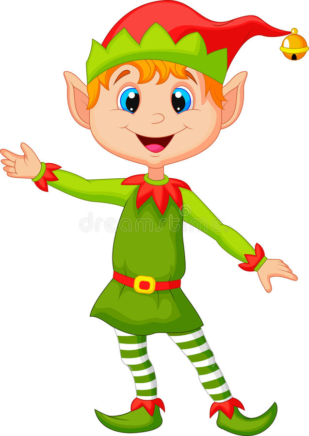 Free Cute Christmas Elf Cartoon Presenting Stock Photo - 34612510