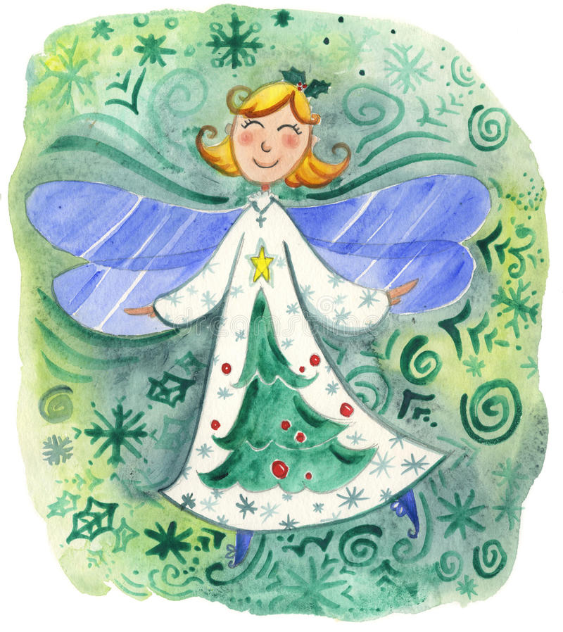 Cute Christmas angel watercolor royalty free stock photo