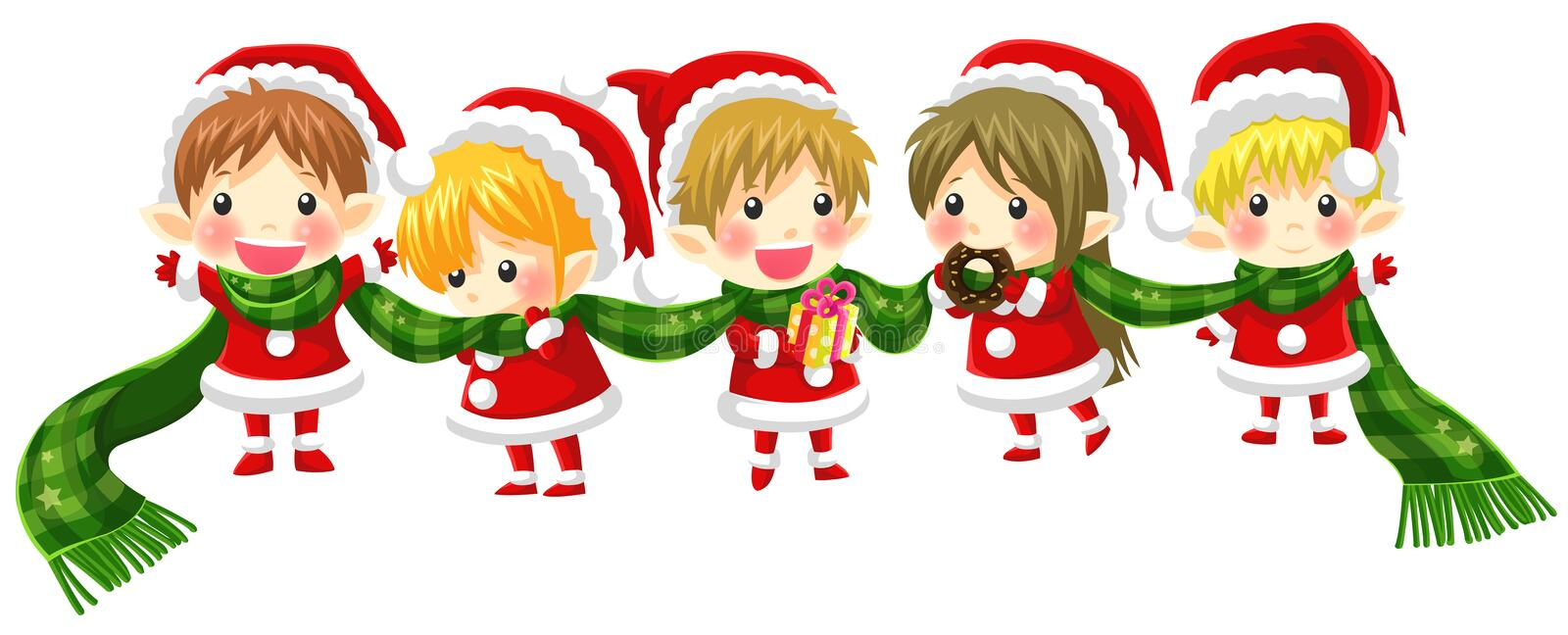 Cute Christmas elves tie together with a long scarf (with no black outline version). Cute Christmas elves tie together with a long scarf in a concept of greeting vector illustration