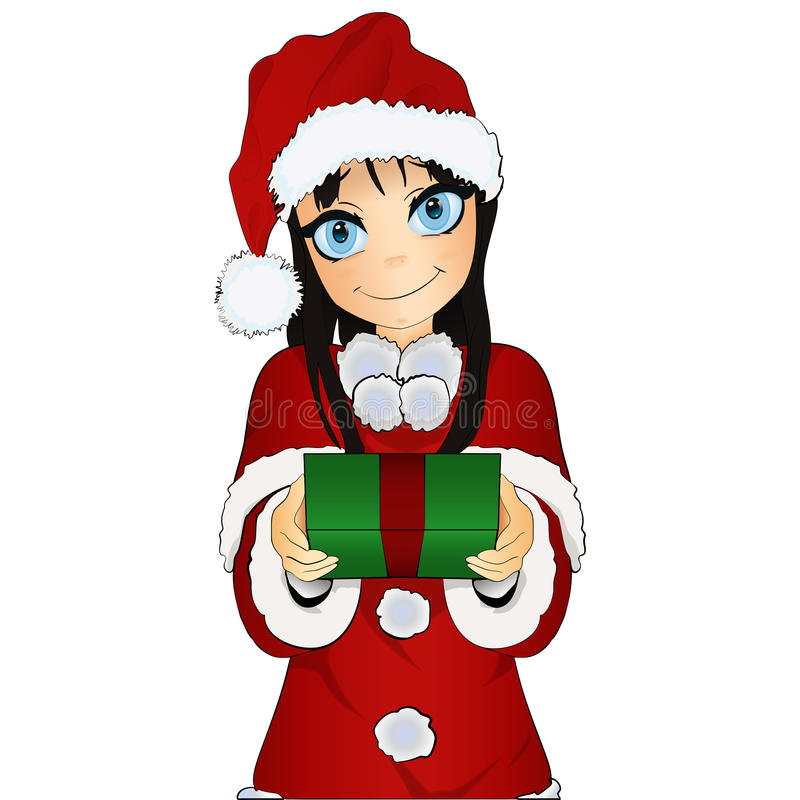 Cute christmas girl with present isolated on white. Cute christmas girl Santa costume give a gift isolated on a white background royalty free illustration