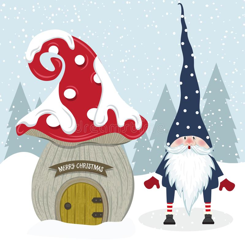 Cute Christmas gnome and her mushroom house. Flat design. Vector stock illustration