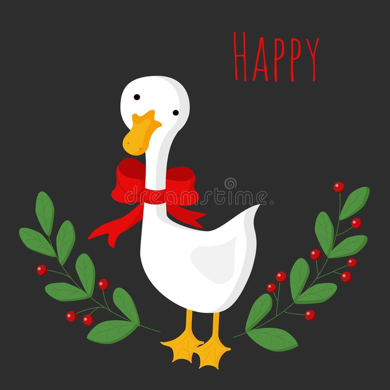 Free Cute Christmas Goose With A Red Bow In A Frame Of Green Branches With Berries. Stock Image - 198449111