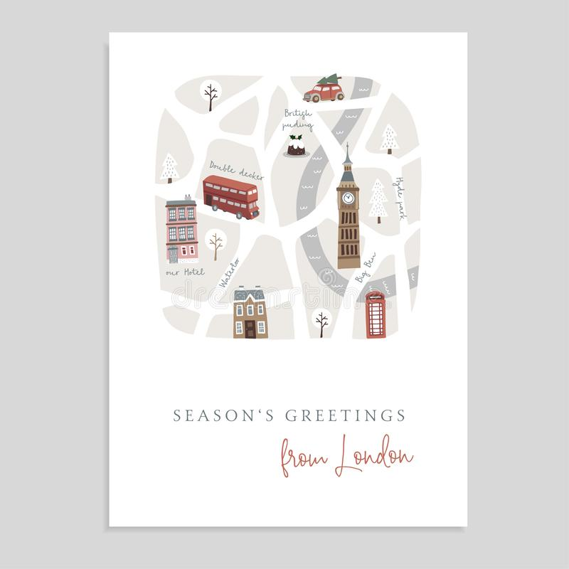 Cute Christmas greeting card, invitation with map of London. Hand drawn British streets, doubledecker, houses, car and vector illustration