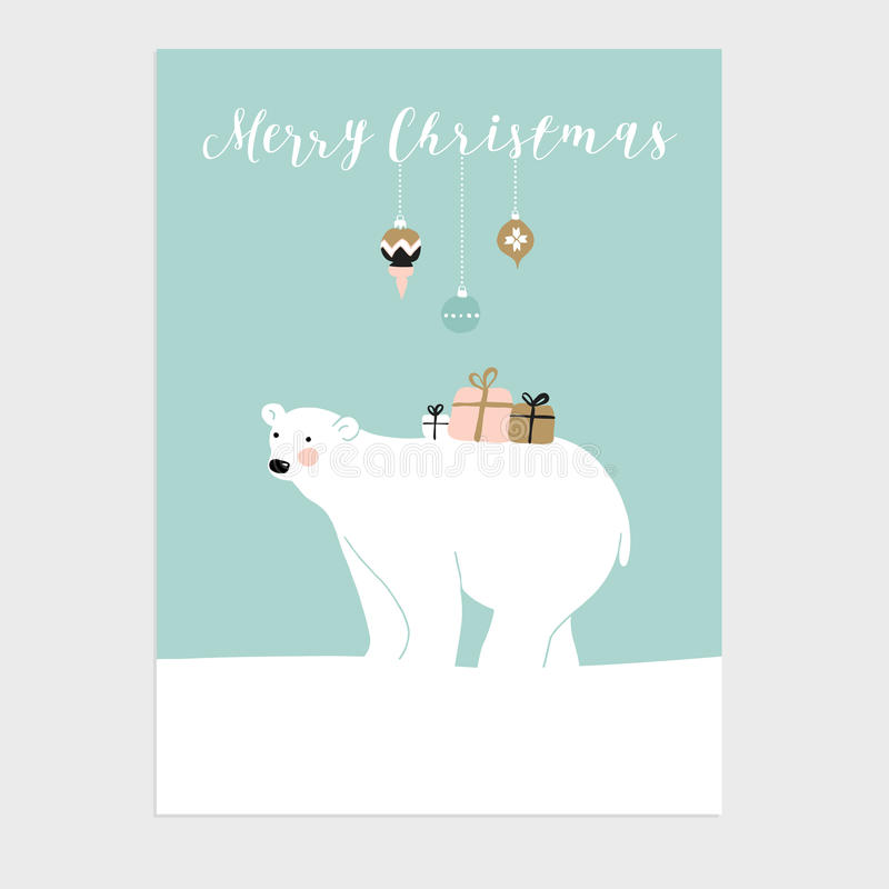 Cute Christmas greeting card, invitation with polar bear and gift boxes. Vector. royalty free illustration