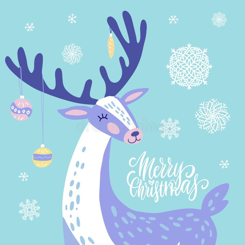 Cute Christmas greeting card, invitation with reindeer with Christmas toys on the horns. Hand drawn deer with snowflakes design. royalty free illustration