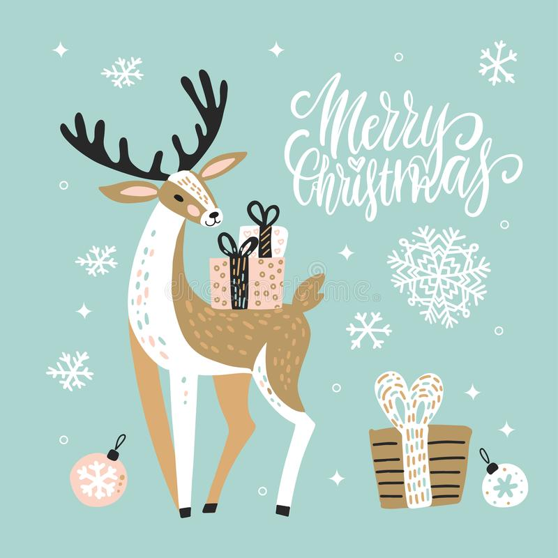 Cute Christmas greeting card, invitation with reindeer and gift boxes. Hand drawn design with brush lettering. Vector illustration vector illustration
