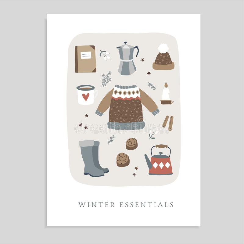 Cute Christmas greeting card, invitation with winter essential food and lifestyle icons. Knitted sweater, hat, coffee royalty free illustration